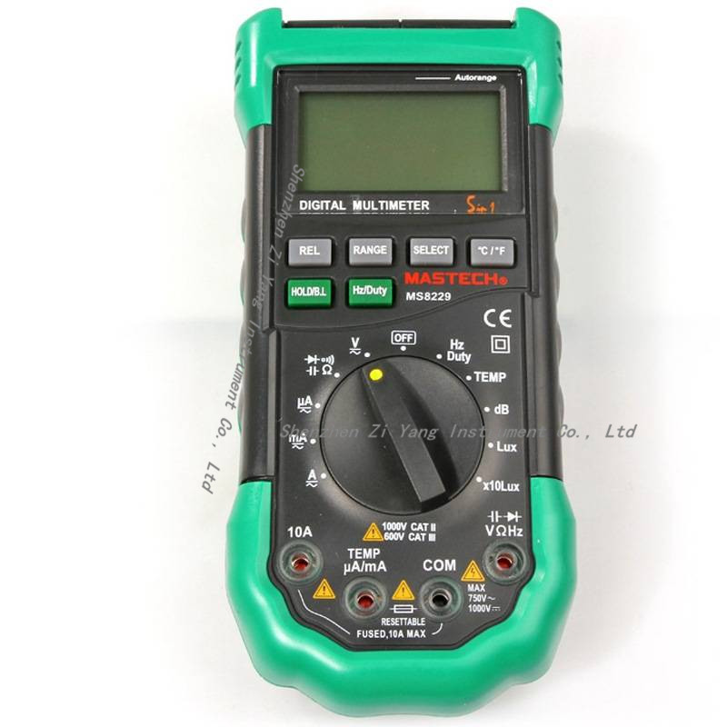 2pcs/lot Mastech MS8229 5 in1 Auto range Digital Multimeter Multifunction Lux Sound Level Temperature Humidity Tester Meter digital indoor air quality carbon dioxide meter temperature rh humidity twa stel display 99 points made in taiwan co2 monitor