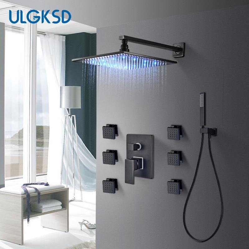 ULGKSD Black Brass 8/10/12 LED Bathroom Shower Faucet Set Cold and Hot Mixer Tap W/ Home Massage Jets Para Bath Ducha
