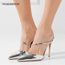 VIISENANTIN Gold Silver Pointed Toe Patent Shiny Leather Slipper Shoe Lady Sexy Thin Heel Stiletto Summer Slides 8cm 10cm