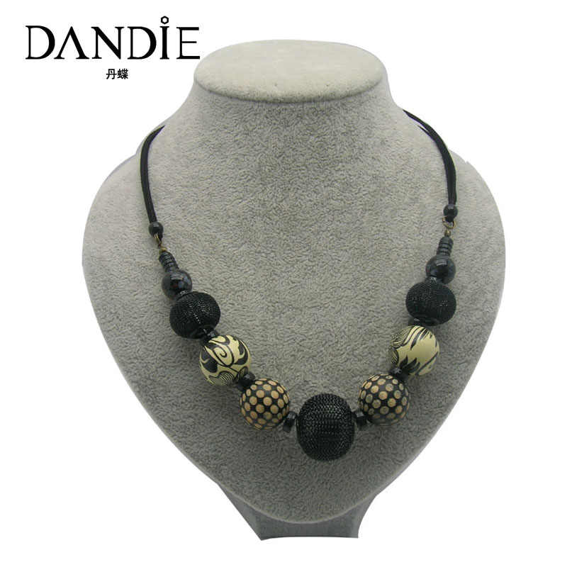 Dandie Ceramic Wooden Acrylic Bead Necklace, Fashion Jewelry For Women