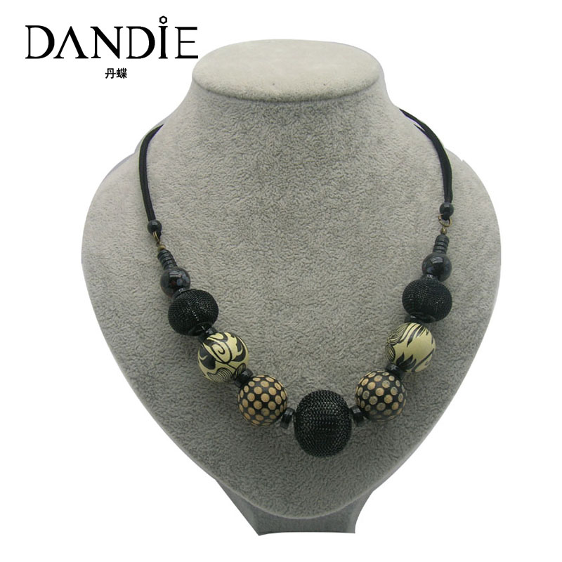 Dandie Ceramic Wooden Acrylic Bead Necklace, Fashion Jewelry For Women dandie fashionable necklace with orange acrylic bead elegant weave braid bead necklace jewelry for women