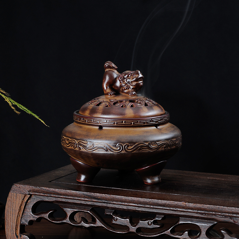 PINNY haute qualité en céramique brûleur d'encens rétro bobine encensoir en céramique artisanat décoration de la maison bouddhiste bâton porte-encens