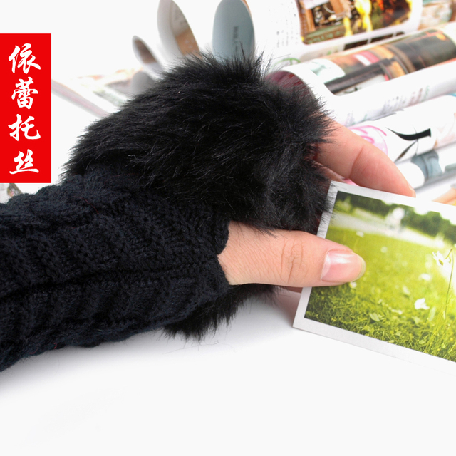 Eratos winter plush gloves semi-finger girls yarn thermal knitted gloves