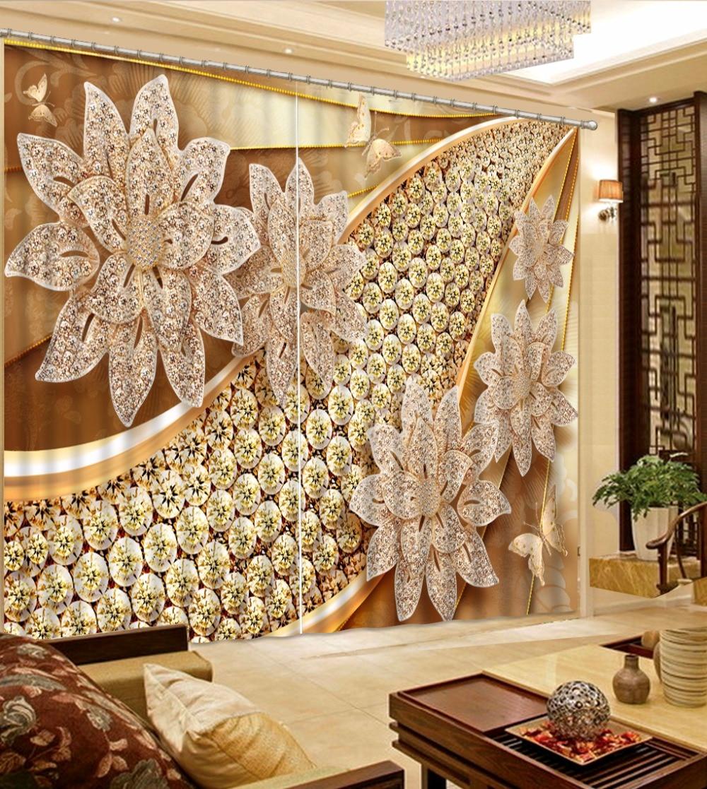Cortinas europeus Cortina Da Janela Cortinas de flores de jóias de Luxo 3D Impressão de Fotos em 3D Para sala de estar Janela Cortina Blecaute
