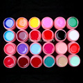 New DIY 24 Pcs Color Mix Solid Pure Nail Art UV Builder Gel Set for Acrylic Tips white pot