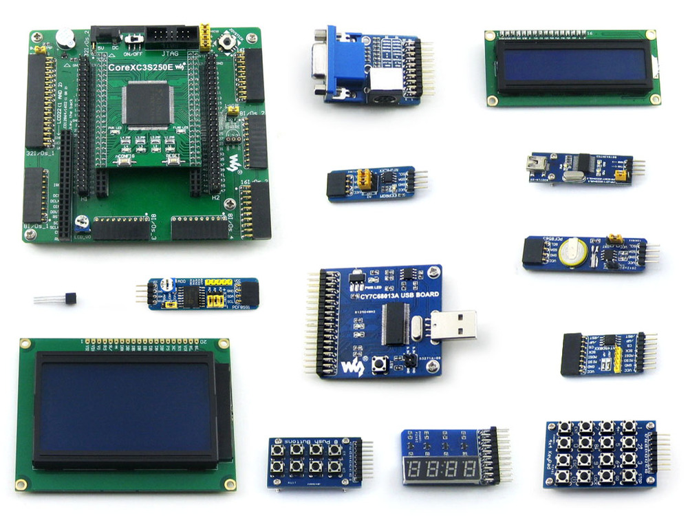 XILINX FPGA Development Board Xilinx Spartan-3E XC3S250E Evaluation Board kit+ LCD1602 +LCD12864+12 Modules=Open3S250E Package B waveshare xc3s250e xilinx spartan 3e fpga development board 10 accessory modules kits open3s250e package a