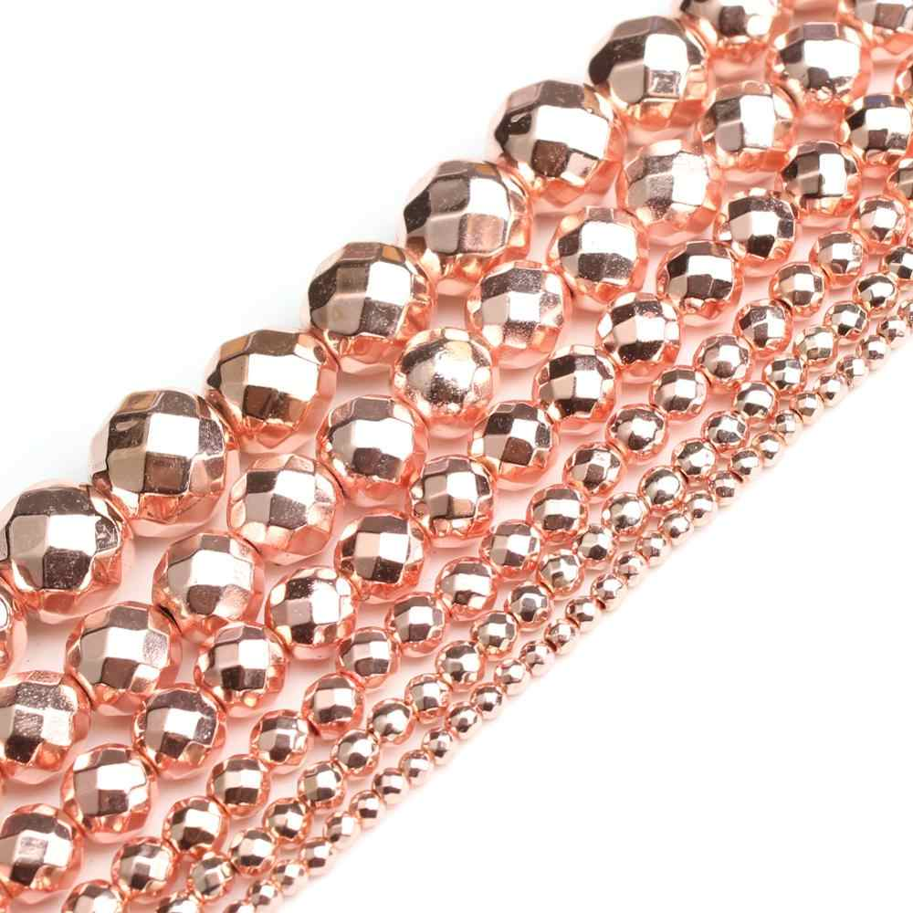 Natural Stone Beads Faceted Rose Gold Hematite Round Loose Beads For Jewelry Making 15 inches 4/6/8/10mm Diy Jewelry