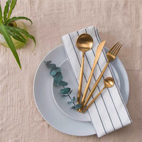 KCASA 4Pcs/Set Tableware Polished Cutlery Stainless Steel Dining Food Flatware Kit Dinnerware Party Gift Black Golden Silver