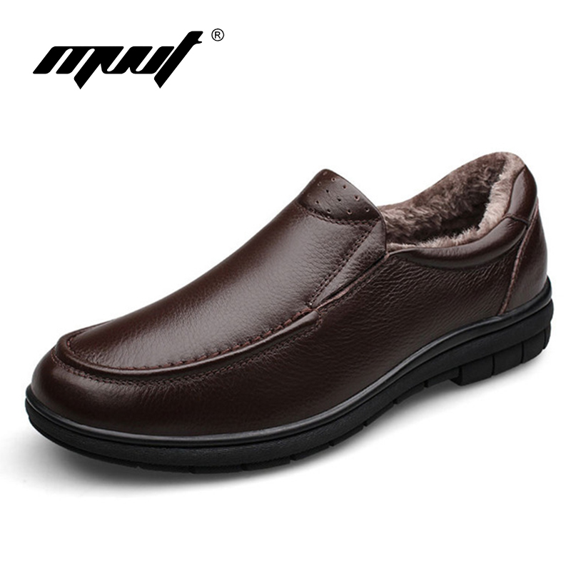 2017 winter top quality genuine leather shoes men flats casual men winter shoes super warm and