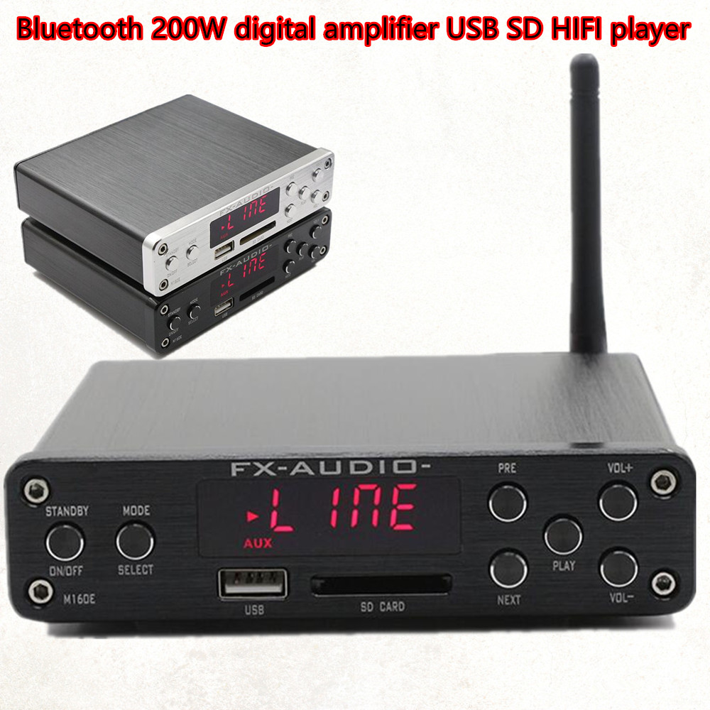 HIFI Amplifier Digital Bluetooth 4.0 Audio AMP 160W+160W Support U-Disk SD APE w/Power Supply FX M-160E fx audio m 160e bluetooth 4 0 digital audio amplifier 160w 2 input usb sd aux pc usb loseless player for ape wma wav flac mp3