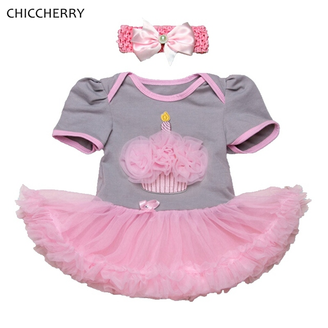 Cupcake Baby Girl Dress Newborn Lace Tutu Headband 1 Year Birthday Outfit for Girls Vestido Bebe Roupas Infant Kids Clothing