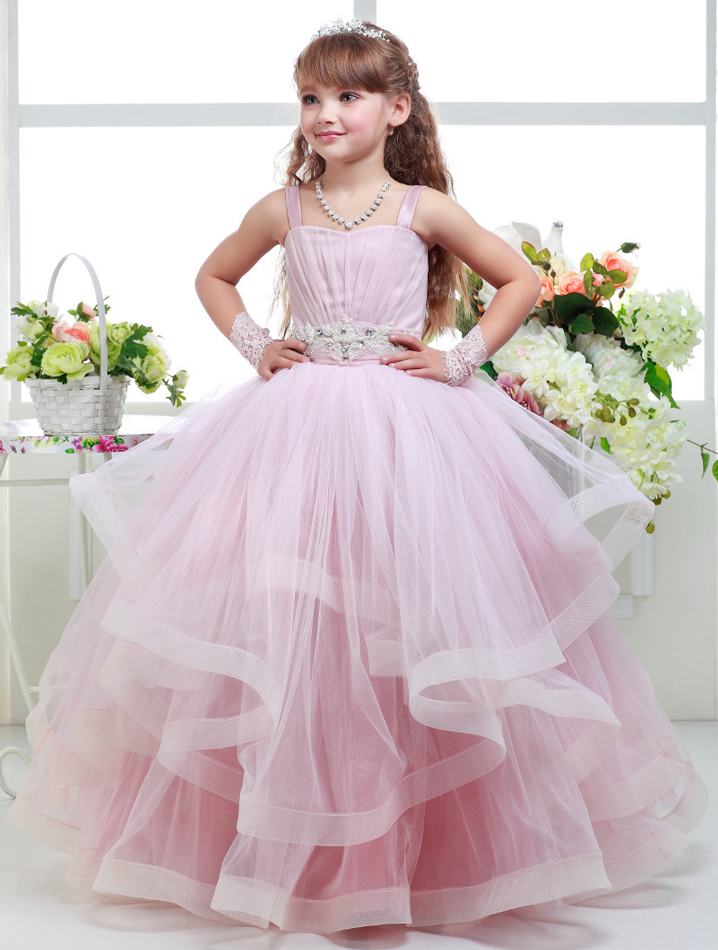 vestidos de comunion Wear Ruffles Pink Ball Gown   Flower     Girls     Dresses   2018 Spaghetti   Girls   Pageant   Dresses   Beading Wedding   Girls