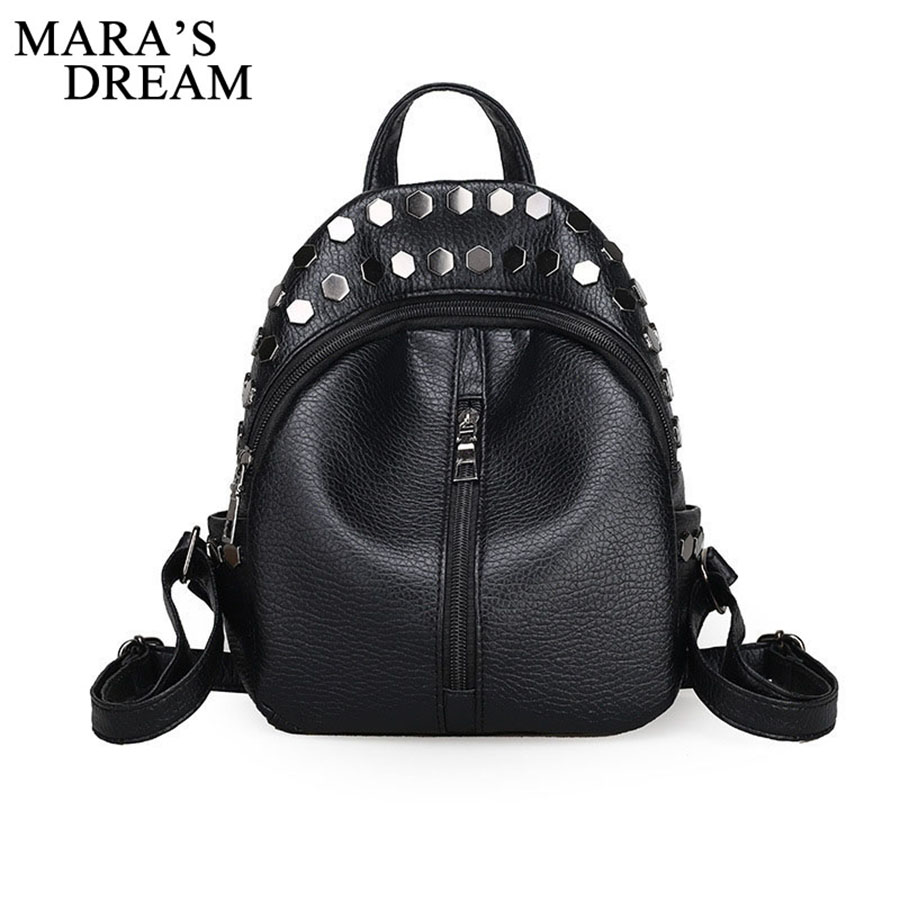 Mara's Dream Small Women Backpacks Rivet Zipper PU Leather Student Backpack Preppy Fashion Bag Girls Women's Backpack Sac A Dos