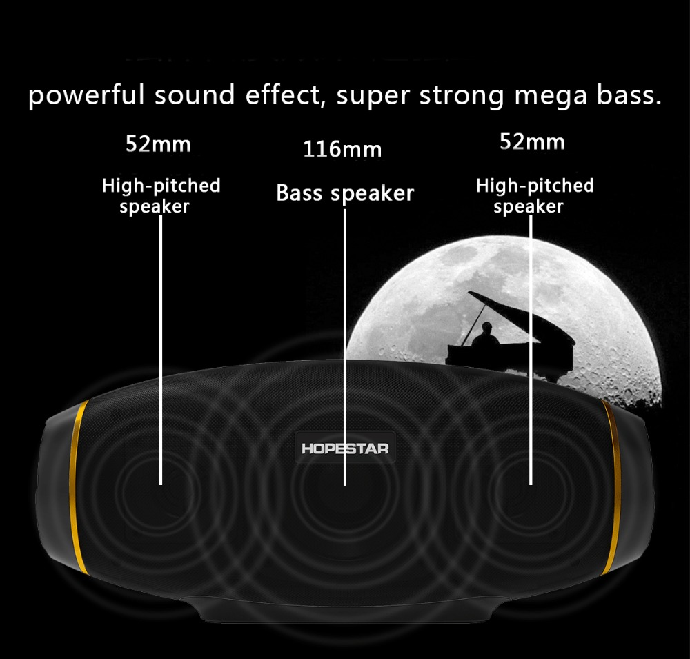 HOPESTAR Wireless portable Bluetooth 2 1 Speaker 20W Waterproof Outdoor Bass Effect with Power Bank USB AUX Mobile Computer TV in Outdoor Speakers from Consumer Electronics