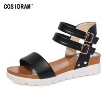 New 2017 Women Sandals Casual Summer Shoes Buckle Gladiator Ladies Sandalias Peep Toe Beach Shoes Wedges Female Footwear SNE-895