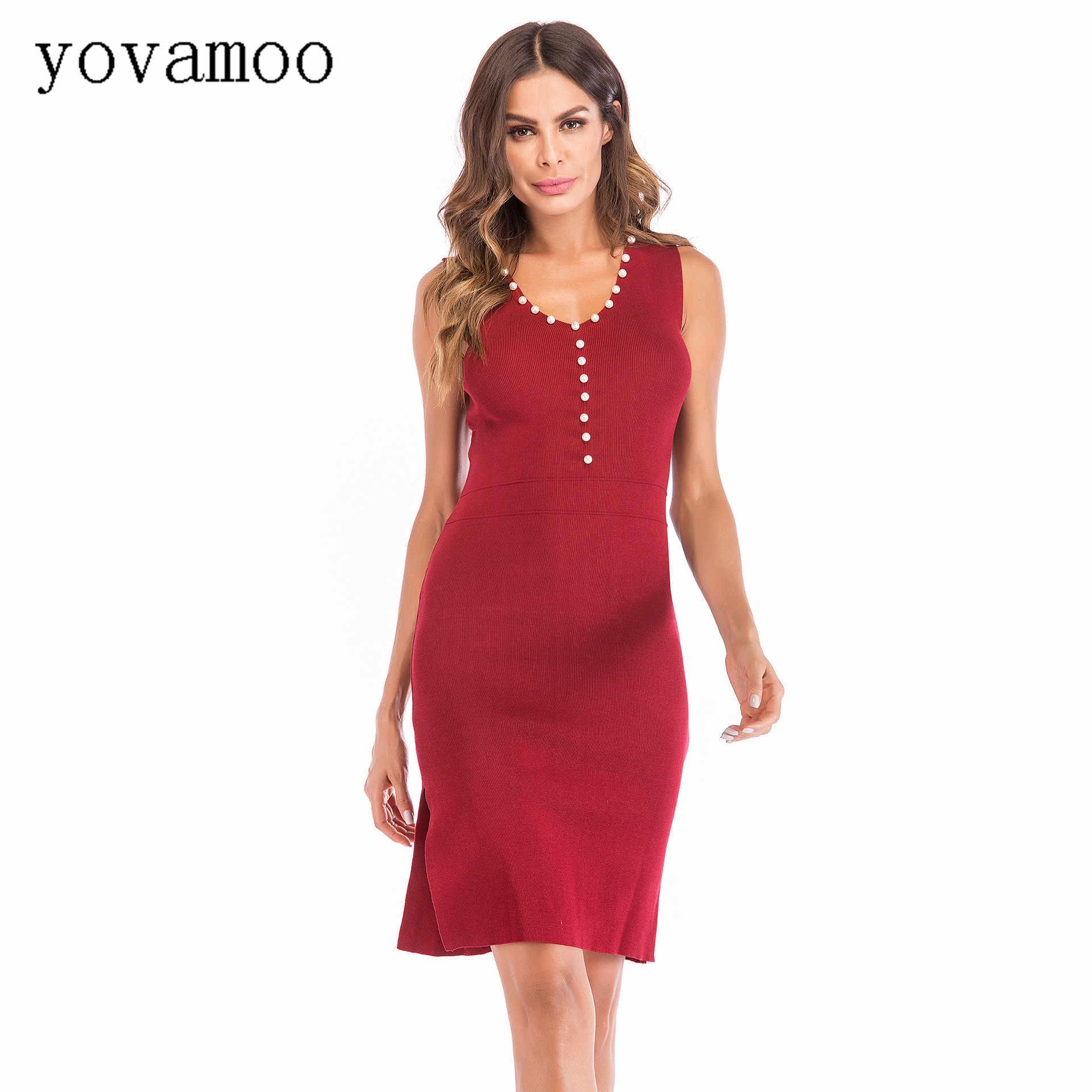Yovamoo 2018 As Mulheres Se Vestem Com Decote Em V Sem Mangas de Cor Sólida Beading Magro Quadril Do Vintage Da Moda Malha Vest Vestidos Preto/Vermelho
