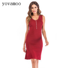 Yovamoo 2018 Women Dress V-neck Sleeveless Solid Color Beading Slim Hip Fashion Vintage Knitted Vest Dresses Black / Red william brooks t playing bigger than you are how to sell big accounts even if you re david in a world of goliaths