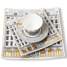 Дворцовый Золотой лебединый замок декоративная плоская чайная чашка и блюдца тарелка ретро здание закуска лоток Качество Италия фруктовая десертная тарелка
