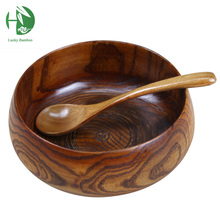 Large soup bowl wood tigela handmade healthy food containers dinner dishes vintage salad rice Japanese style tableware  noodles