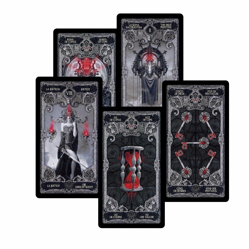 4 stil Dark tarot karten Englisch Spanisch Französisch Deutsch version mysterious divination persönlichen gebrauch spielkarten spiel für frauen