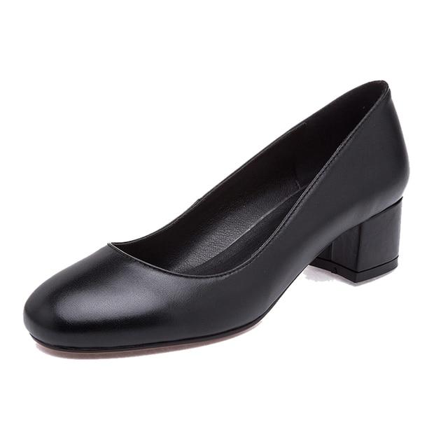 fec737313e Office Ladies Work Shoes Round Toe Block Square High Heels Black Genuine  Leather Classic Comfortable Elegant Women's Pumps