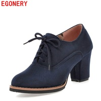Blue Suede Nubuck Lace Up Spring Autumn Ankle Lady Pumps Vintage Square High Heels Womens Shoes
