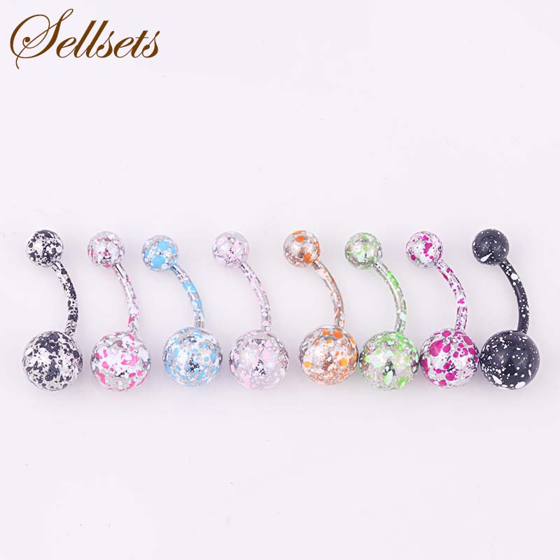 Sellsets Mix 8pcs/lot New Coating Stainless Steel Belly Button Rings Navel Piercing Helix Body Piercing Jewelry Wholesale