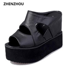 Free shipping 2017 Summer leisure platform sandals black increased with wedges slippery fish mouth foam slippers
