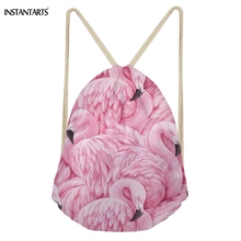 INSTANTARTS Cute Cartoon 3D Animal Flamingos Printing Woman Drawstring Bags Fashion Beach Backpacks Casual Softback Bags Pink