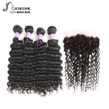 Joedir бразильские комплекты глубокой волны с закрытием Non Remy 100% человеческие волосы 13X4 Lace Frontal 4 комплектов с фронтальной бесплатной доставкой