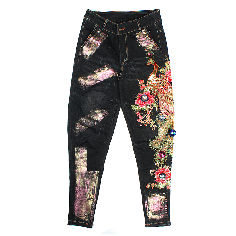 2019 Autumn new black jeans sequins decorative peacock pattern spray paint harem pants feet jeans plus size