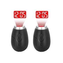 Mini Orologio Della Proiezione Digitale Portatile LED Orologi Tempo di Proiezione Proiettore di Luce Della Torcia Elettrica di Notte Orologio Con Portachiavi