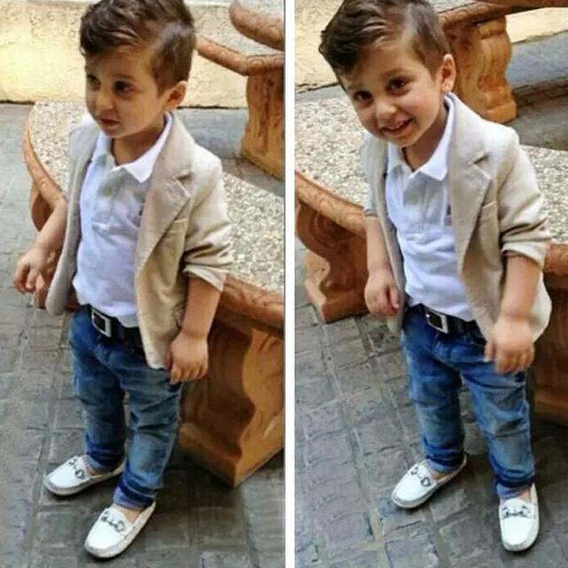 f21f22eb2 Popular Kids Boys Blazer T Shirt Jeans Clothing Sets Little Boys Casual Gentleman  Suits Wedding Party