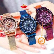 Rotate Dial Women Watch Mesh Magnet Starry Sky Ladies Luxury Fashion Geometric Bracelet Quartz Relogio Feminino