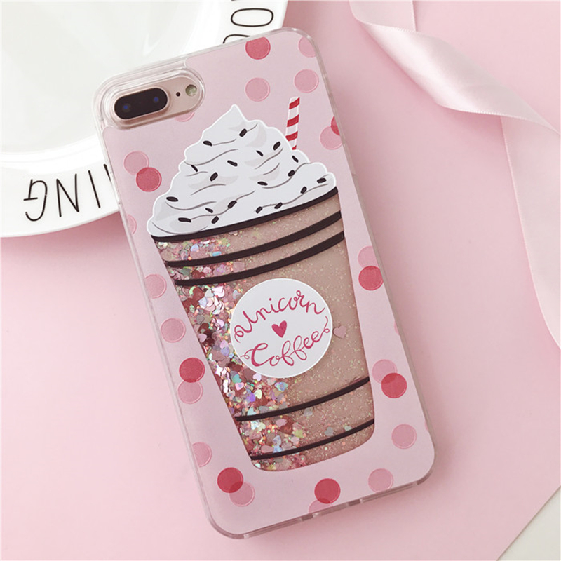Aoweziic Quicksand For iPhone7plus mobile phone shell cute 6plus protective cover 6S full wrapped hard shell female 8Plus X case