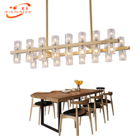 Modern Design Rectangular Crystal Chandelier Hanging Light LED Chandeliers Lighting Restaurant Living Dining Room Light Fixture