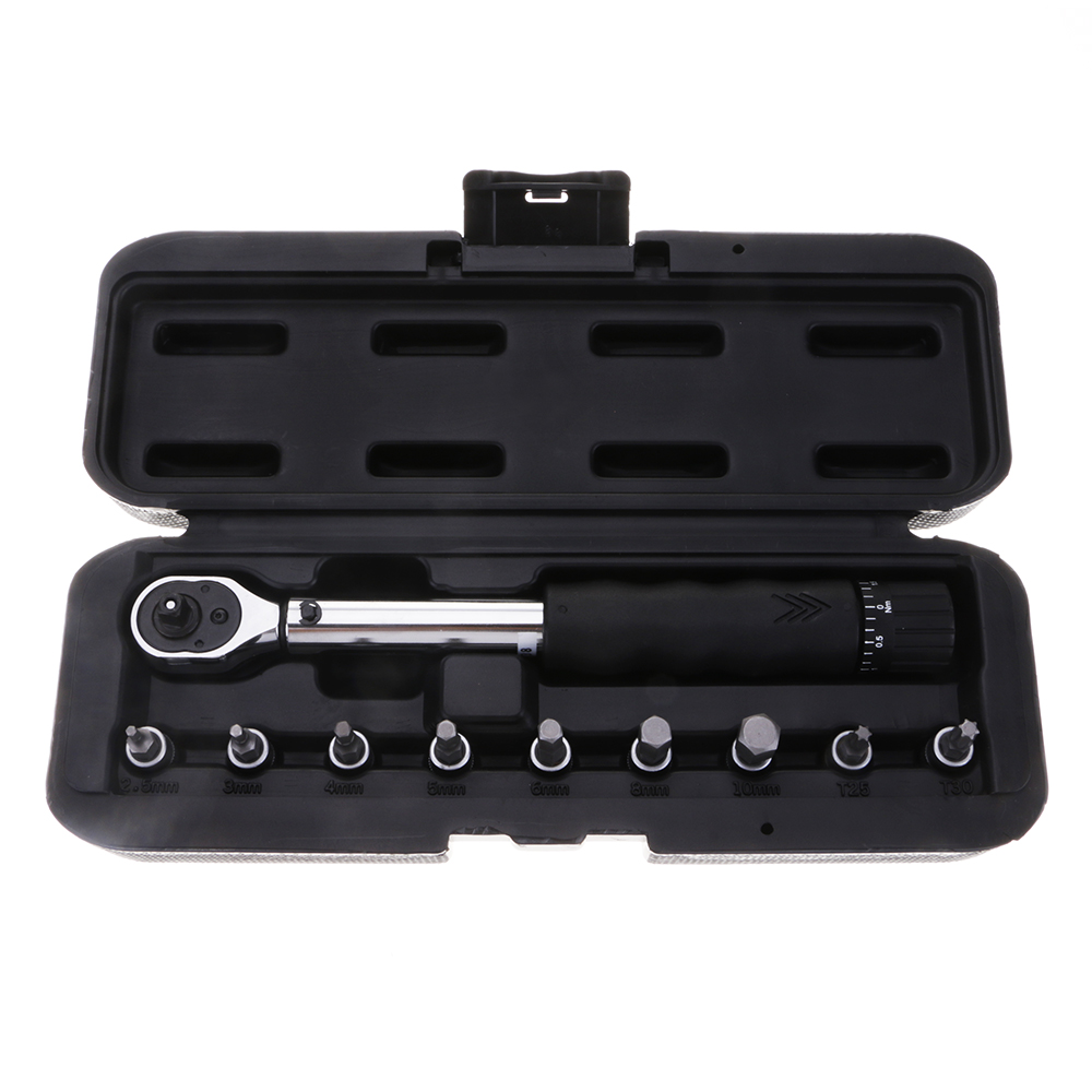 10pcs Bicycle Bike Torque Wrench Allen Key Tool Socket Bits Set Kit 1/4