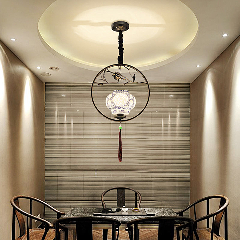 New hot China bird chandelier creative ceramic personality cage restaurant learning antique teahouse bar iron lighting