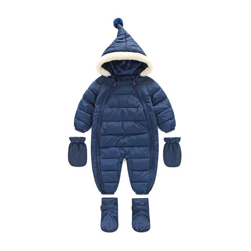 Cute Winter Down Baby Rompers Newborn Babies Costume Winter Clothes Snowsuit Fur Coat Gloves Shoes Boys Girls Romper For Babys