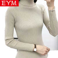 2019 Autumn Winter New Warm Knitted Women Sweaters And Pullover Turtleneck Femme Pull High Elasticity Soft Sweater Black White