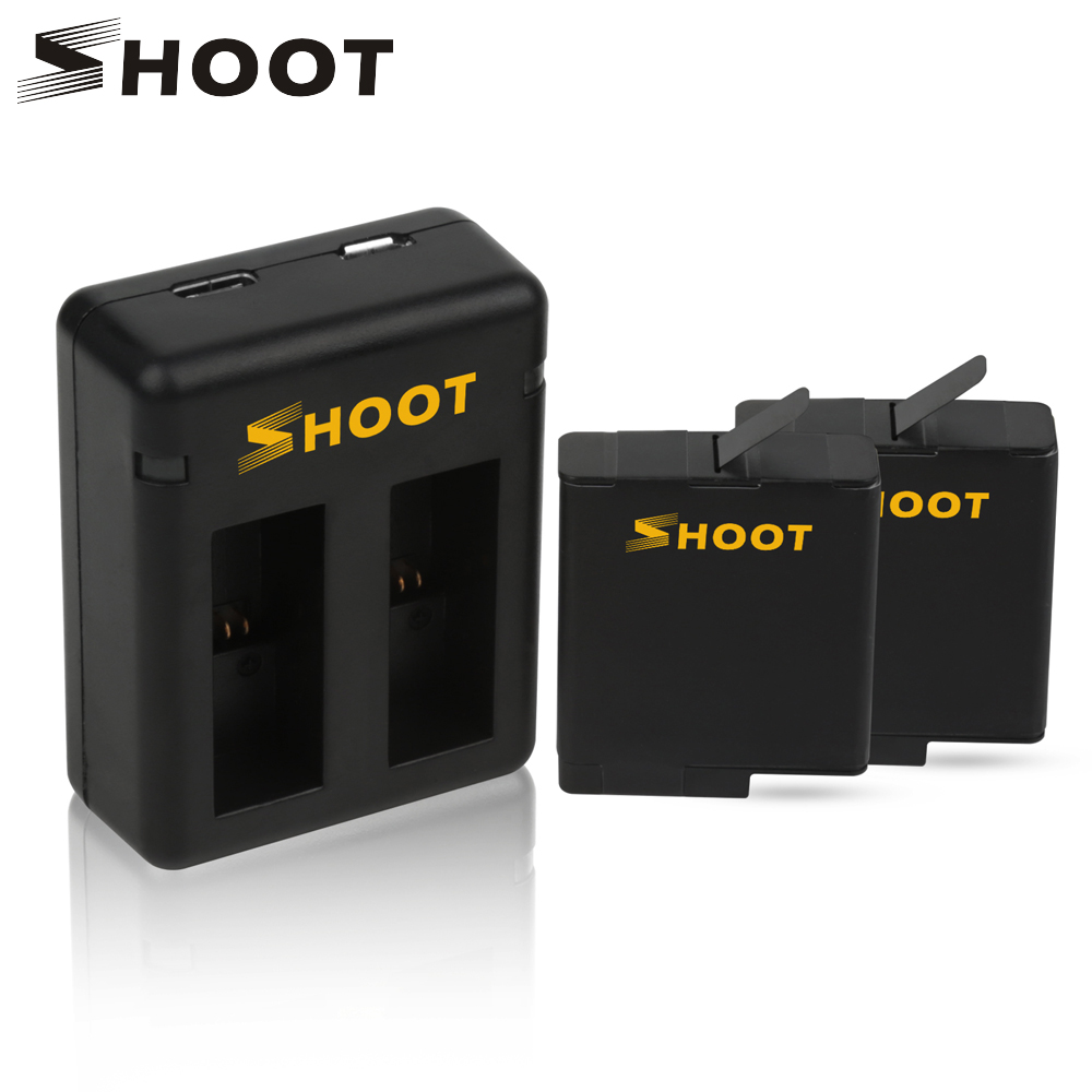 SHOOT AHDBT-501 Battery with Dual Port Charger for GoPro Hero 6 5 7 Action Camera Batteries for Go Pro Hero 6 5 7 Accessories автомобильное зарядное устройство rivapower va4225 bd2 черное 3 4a 2usb с кабелем mfi lightning
