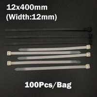 12*400 ملليمتر 12x400 ملليمتر (12 ملليمتر العرض) أسود أبيض شبكة الأسلاك سلسلة حزام التفاف ربط العلاقات البريدي الذاتي قفل النايلون البلاستيك الكابل...