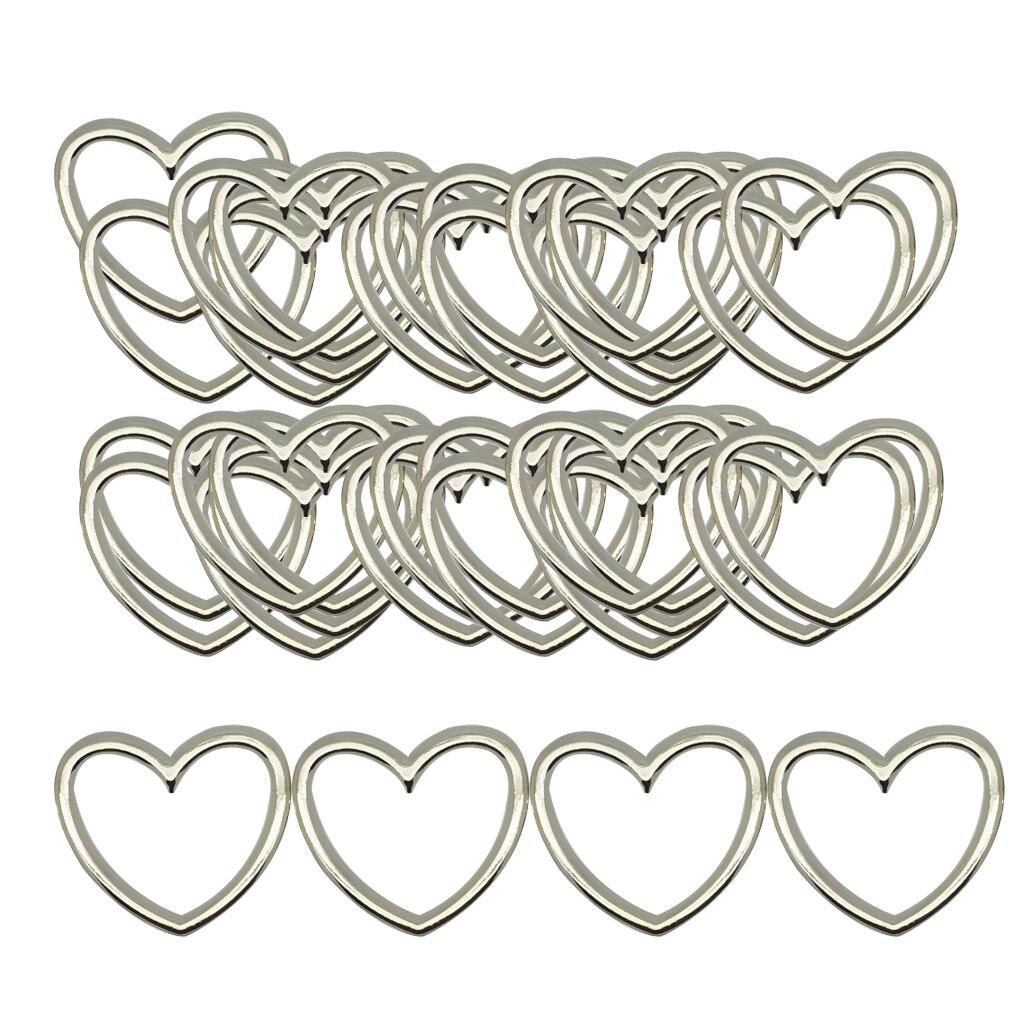 Phenovo 5 шт. серебряные кольца в форме сердца из сплава, подвески «сделай сам» для женщин, ошейник, кожаное ювелирное изделие, кольцо для ног, по...