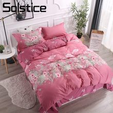 Solstice Home Textile Claret Flamingo Duvet Cover Pillowcase Flat Sheet Woman Adult Kid Girl Bedding Set King Full Bed Linen Kit(China)