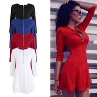 Autumn Spring Women Mini Dress Zipper V Neck Sexy Three Quarter Sleeve Slim Ruffle Party