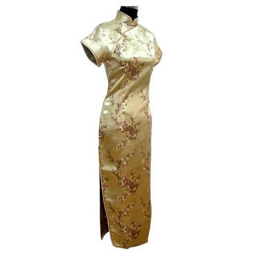 Gold Chinese Traditional Dress Sexy Women Satin Qipao Long Cheongsam Flower  Plus Size S M L XL XXL eaf1aa6b2391