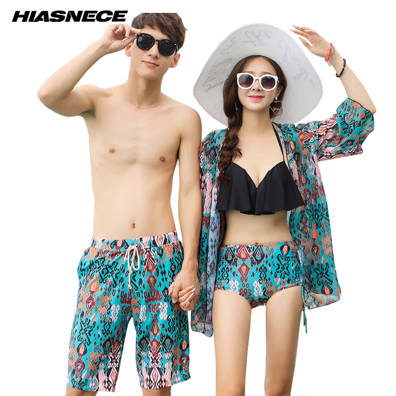 High Waist Bikini Set with Cover Up and Mans beach trunks Lovers sexy Printed beachwear bathing suit 2018 new Couples Swimwear