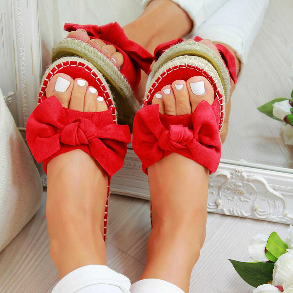 Disputent/женские летние пляжные шлепанцы без застежки с Бантом Летняя обувь на плоской подошве женские нескользящие модные шлепанцы