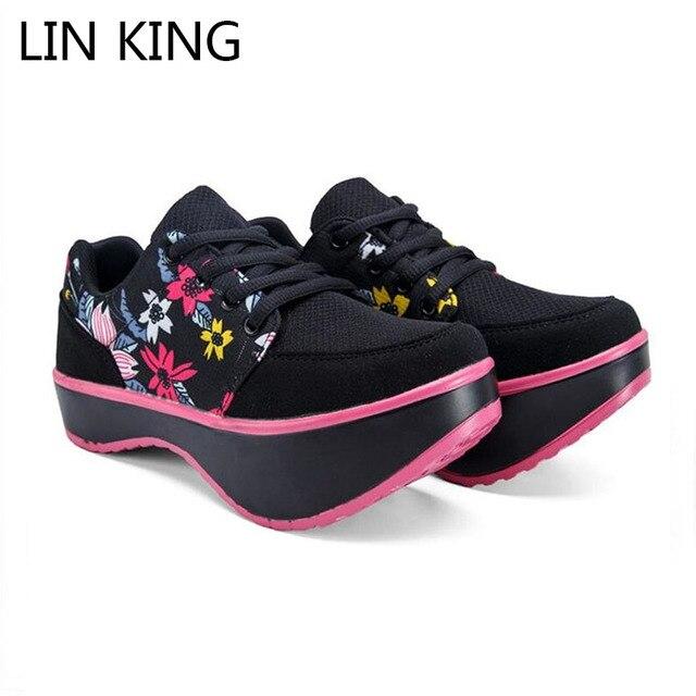 LIN KING Spring Women Casual Shoes Medium Heel Swing Shoes Platform Wedge Slim Health Shoes Breathable Lumbar Hump Shape Muffins