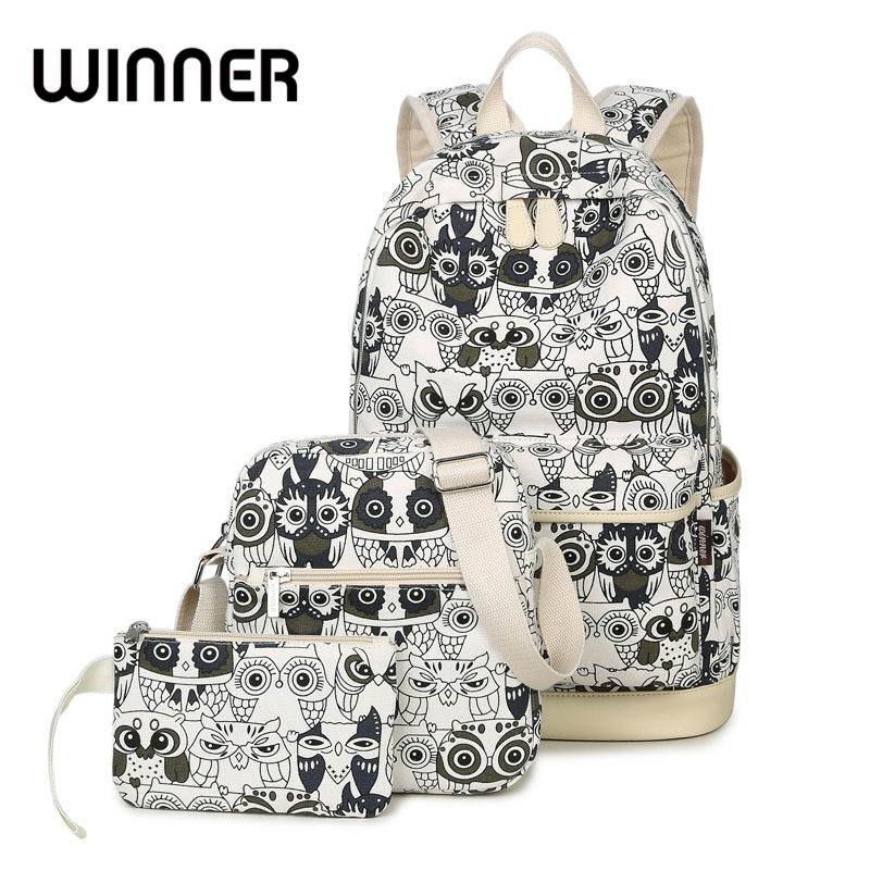 Set Backpack Women Animal Owl Printing Backpack Canvas Bookbags School Backpacks Bags for Teenage girls Bagpack